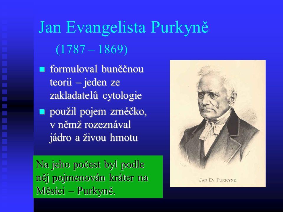 Jan Evangelista Purkyně (1787 – 1869) formuloval buněčnou teorii – jeden ze zakladatelů cytologie formuloval buněčnou teorii – jeden ze zakladatelů cytologie použil pojem zrnéčko, v němž rozeznával jádro a živou hmotu použil pojem zrnéčko, v němž rozeznával jádro a živou hmotu Na jeho počest byl podle něj pojmenován kráter na Měsíci – Purkyně.