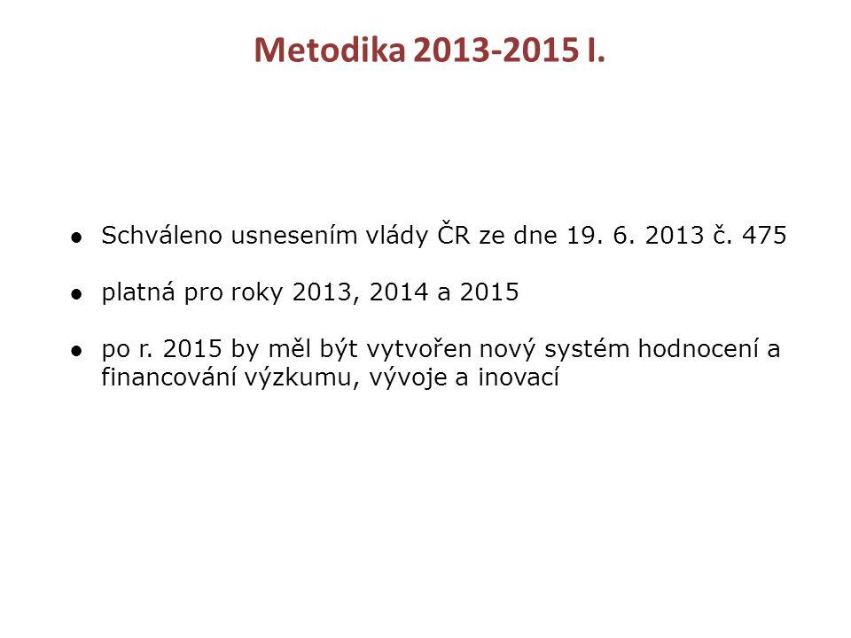 Metodika 2013-2015 I. ●Schváleno usnesením vlády ČR ze dne 19.