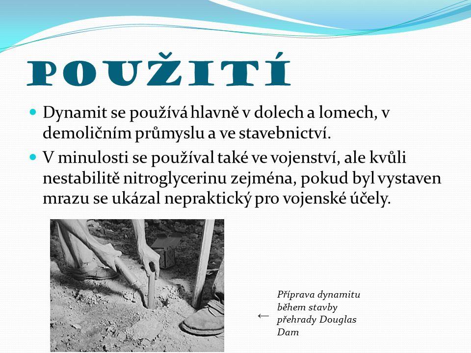 Použití Dynamit se používá hlavně v dolech a lomech, v demoličním průmyslu a ve stavebnictví.