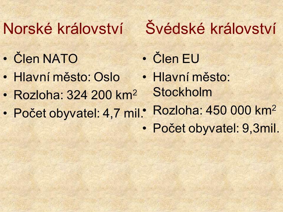 Norské království Švédské království Člen NATO Hlavní město: Oslo Rozloha: 324 200 km 2 Počet obyvatel: 4,7 mil.