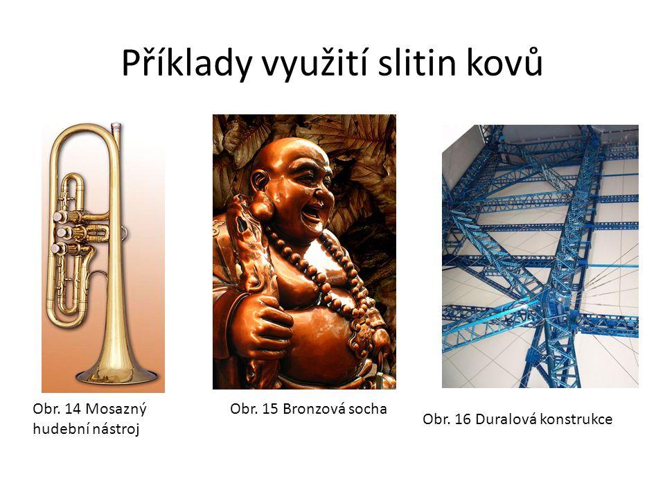 Příklady využití slitin kovů Obr. 14 Mosazný hudební nástroj Obr.