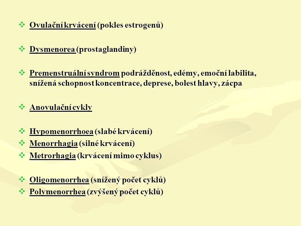  Ovulační krvácení (pokles estrogenů)  Dysmenorea (prostaglandiny)  Premenstruální syndrom podrážděnost, edémy, emoční labilita, snížená schopnost koncentrace, deprese, bolest hlavy, zácpa  Anovulační cykly  Hypomenorrhoea (slabé krvácení)  Menorrhagia (silné krvácení)  Metrorhagia (krvácení mimo cyklus)  Oligomenorrhea (snížený počet cyklů)  Polymenorrhea (zvýšený počet cyklů)
