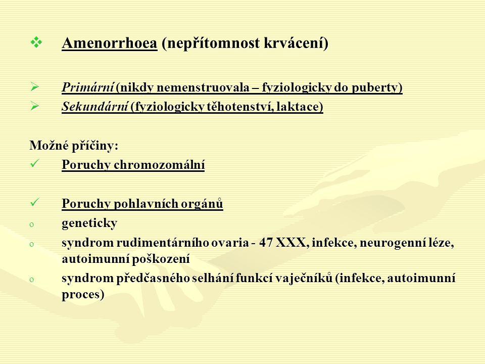  Amenorrhoea (nepřítomnost krvácení)  Primární (nikdy nemenstruovala – fyziologicky do puberty)  Sekundární (fyziologicky těhotenství, laktace) Možné příčiny: Poruchy chromozomální Poruchy chromozomální Poruchy pohlavních orgánů Poruchy pohlavních orgánů o geneticky o syndrom rudimentárního ovaria - 47 XXX, infekce, neurogenní léze, autoimunní poškození o syndrom předčasného selhání funkcí vaječníků (infekce, autoimunní proces)