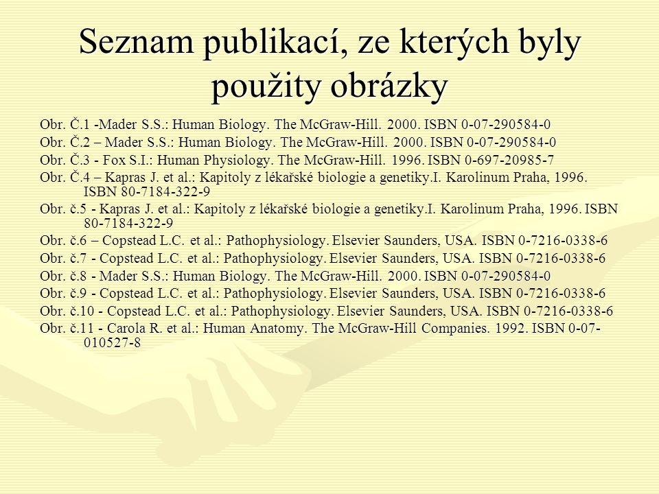 Seznam publikací, ze kterých byly použity obrázky Mader S.S.: Human Biology.