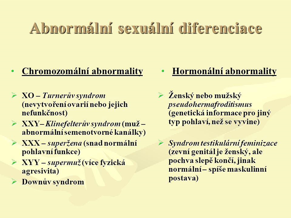 Abnormální sexuální diferenciace Chromozomální abnormalityChromozomální abnormality  XO – Turnerův syndrom (nevytvoření ovarií nebo jejich nefunkčnost)  XXY– Klinefelterův syndrom (muž – abnormální semenotvorné kanálky)  XXX – superžena (snad normální pohlavní funkce)  XYY – supermuž (více fyzická agresivita)  Downův syndrom Hormonální abnormality  Ženský nebo mužský pseudohermafroditismus (genetická informace pro jiný typ pohlaví, než se vyvine)  Syndrom testikulární feminizace (zevní genitál je ženský, ale pochva slepě končí, jinak normální – spíše maskulinní postava)
