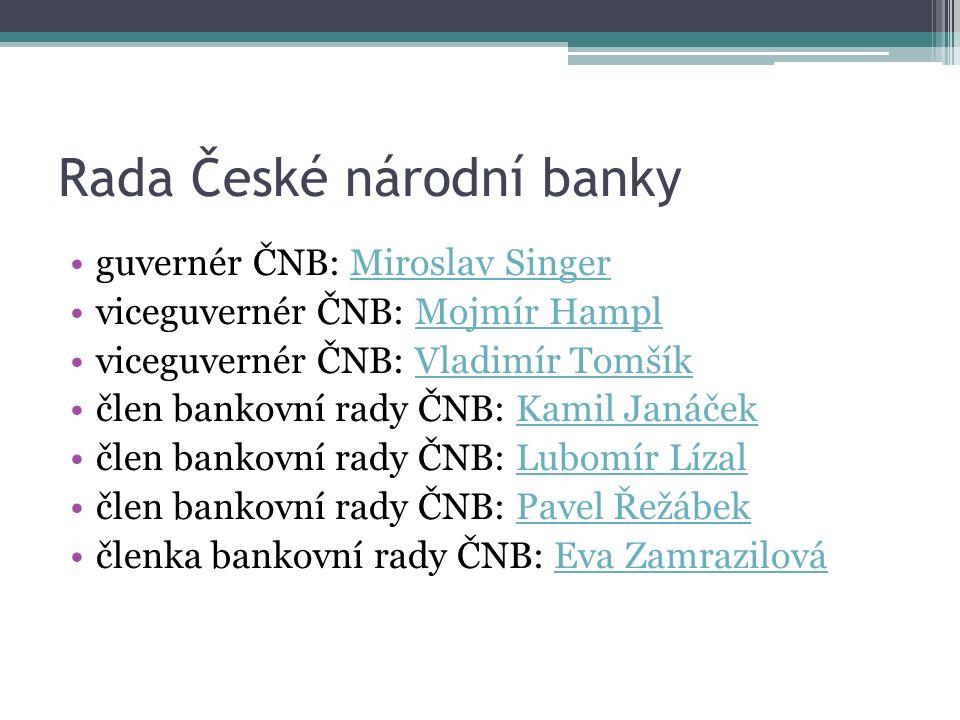 Základní úkony centrální banky Měnová politika Emise oběživa a peněžní dohled Dohled nad finančním trhem Platební styk a zúčtování bank Banka státu Styk se zahraničními centrálními bankami Devizová činnost Centrální registr úvěrů (CRÚ)