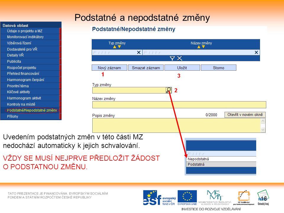 16 Podstatné a nepodstatné změny Uvedením podstatných změn v této části MZ nedochází automaticky k jejich schvalování.