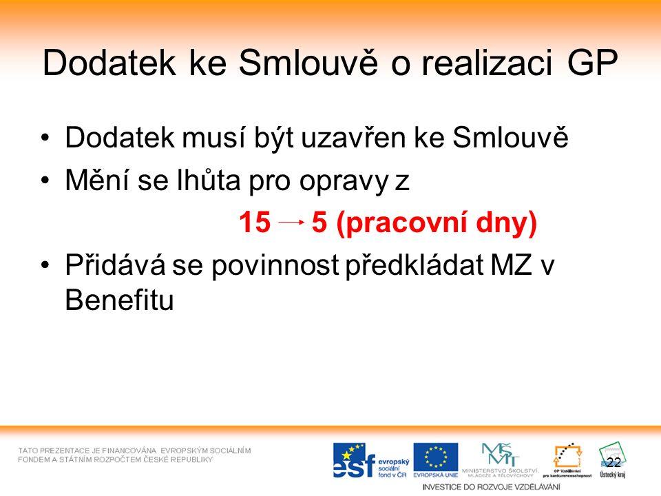 22 Dodatek ke Smlouvě o realizaci GP Dodatek musí být uzavřen ke Smlouvě Mění se lhůta pro opravy z 15 5 (pracovní dny) Přidává se povinnost předkládat MZ v Benefitu