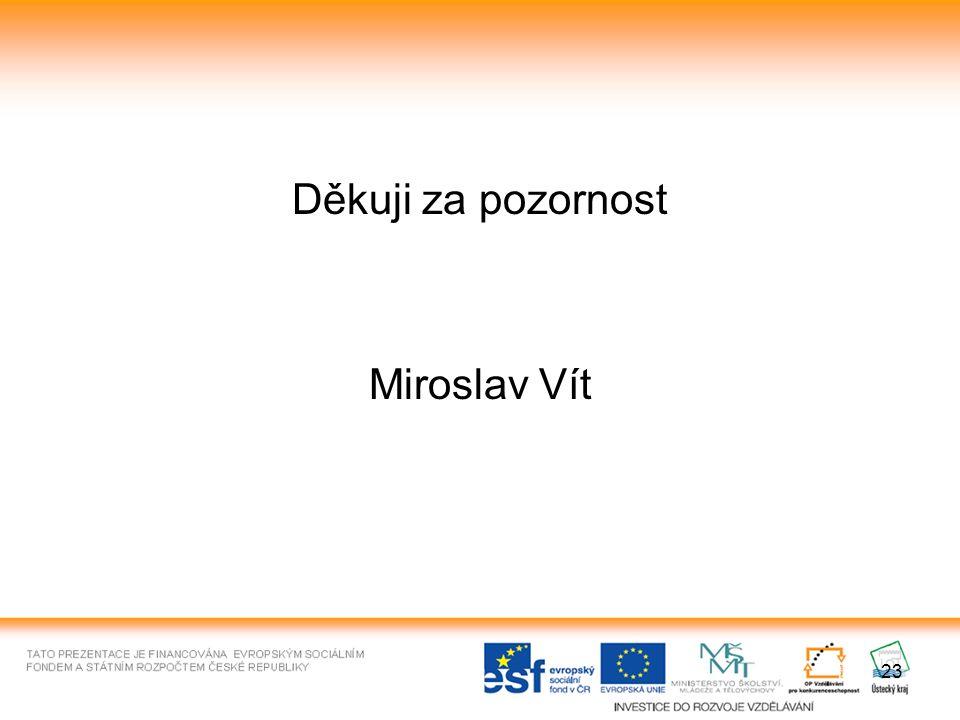 23 Děkuji za pozornost Miroslav Vít