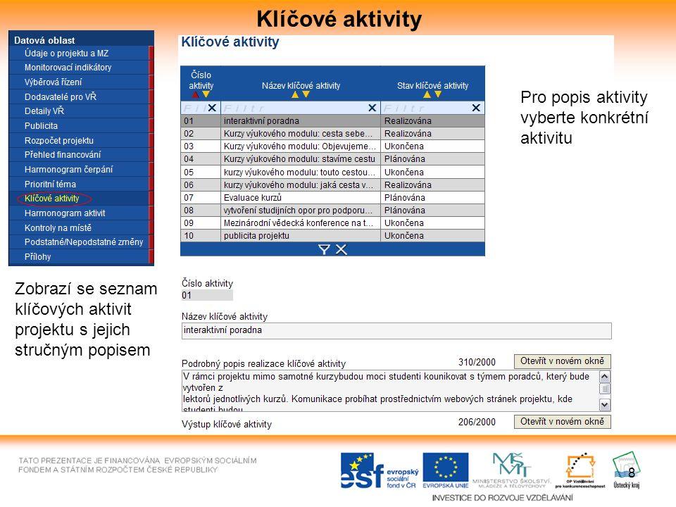 8 Klíčové aktivity Zobrazí se seznam klíčových aktivit projektu s jejich stručným popisem Pro popis aktivity vyberte konkrétní aktivitu