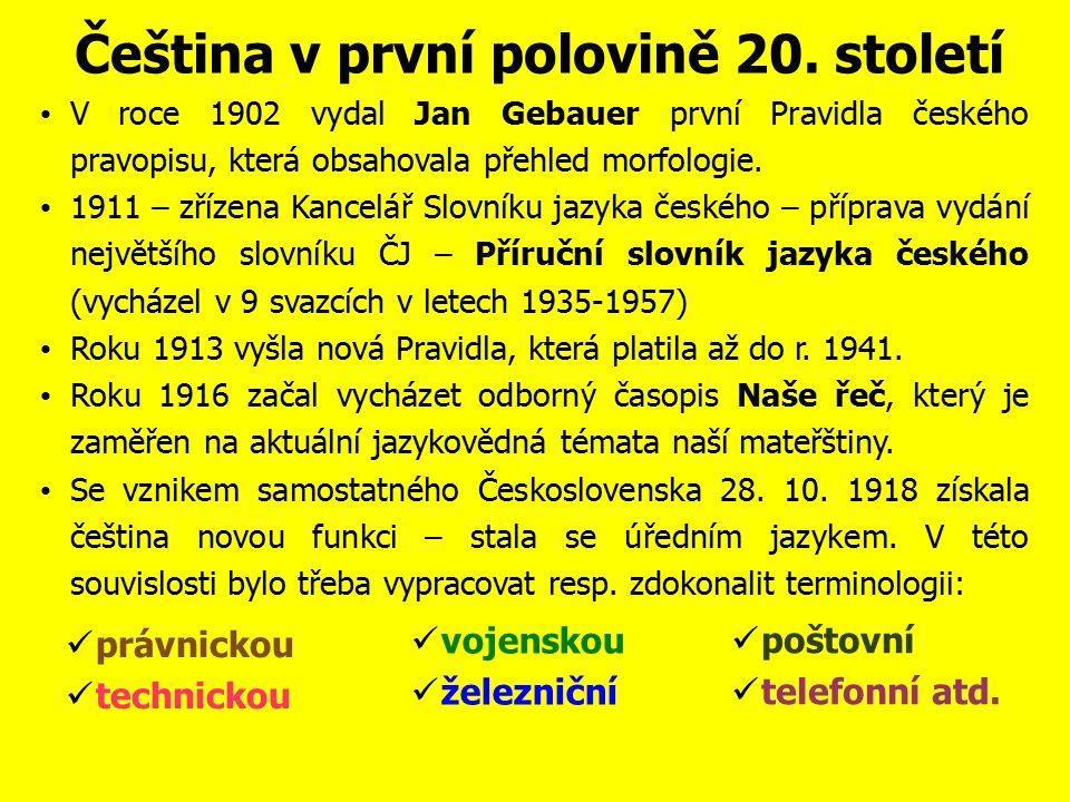 Čeština v první polovině 20.