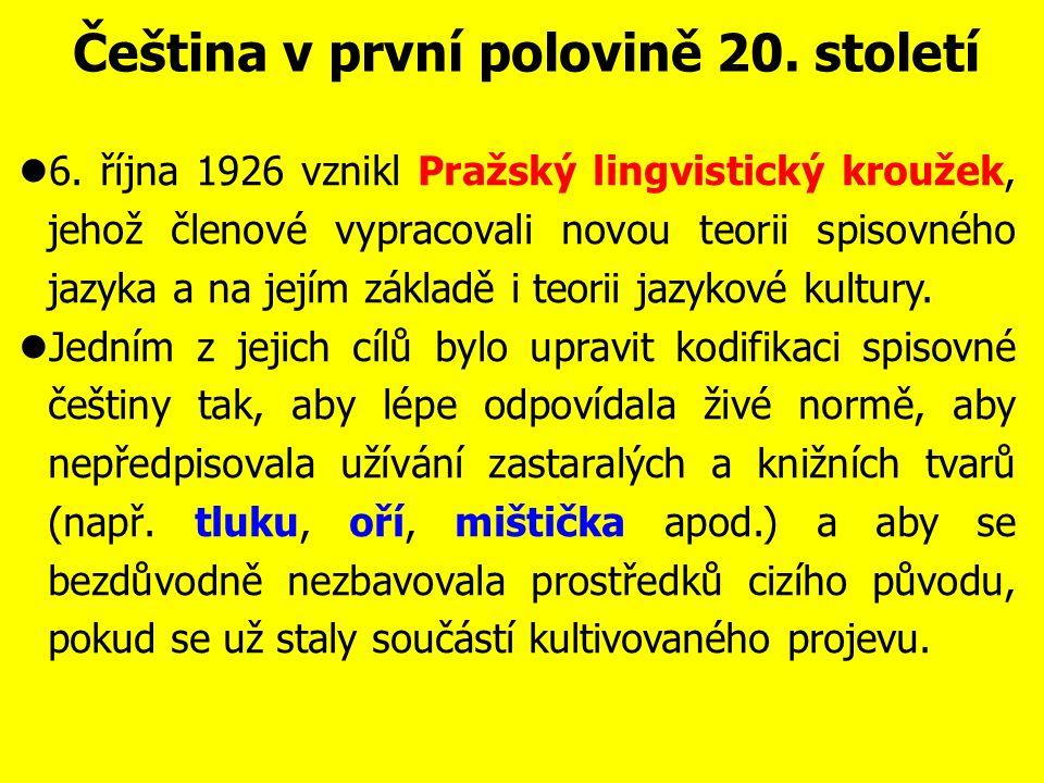 Čeština v první polovině 20. století Spisovný jazyk v prvních letech samostatné ČSR působil strojeně, knižně, archaicky; obsahoval též dvojí tvary: ře