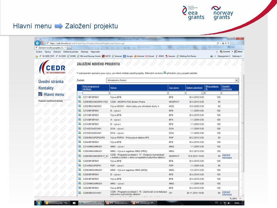 Hlavní menu Založení projektu