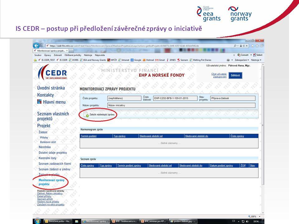 IS CEDR – postup při předložení závěrečné zprávy o iniciativě