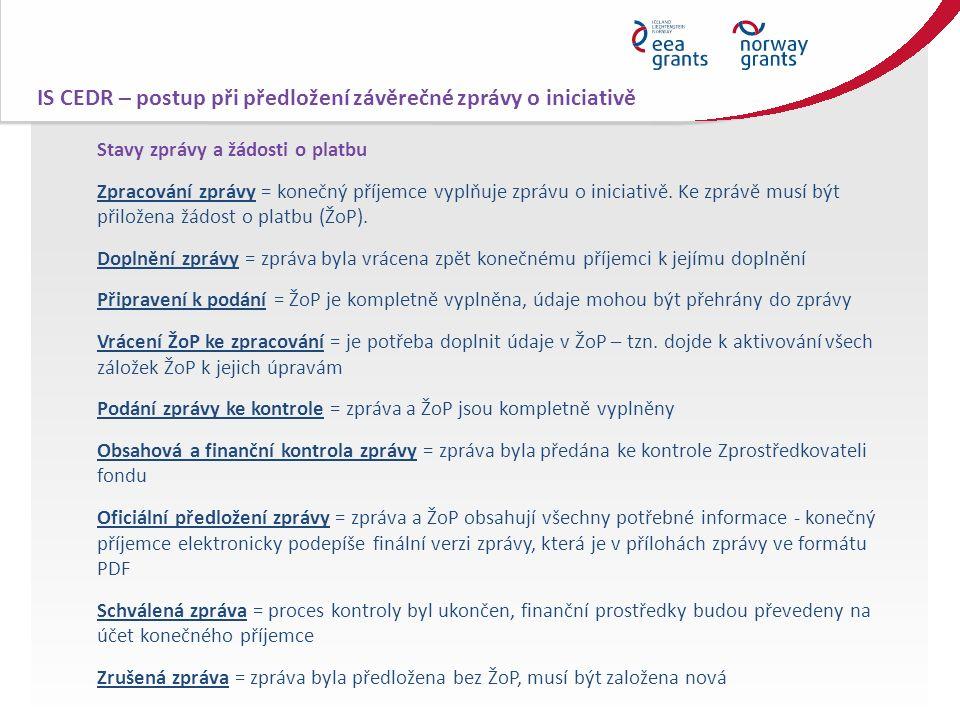 Stavy zprávy a žádosti o platbu Zpracování zprávy = konečný příjemce vyplňuje zprávu o iniciativě. Ke zprávě musí být přiložena žádost o platbu (ŽoP).