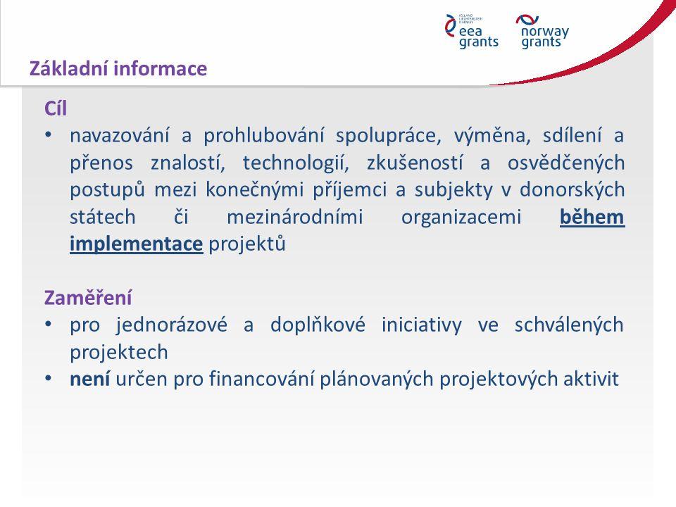 Cíl navazování a prohlubování spolupráce, výměna, sdílení a přenos znalostí, technologií, zkušeností a osvědčených postupů mezi konečnými příjemci a subjekty v donorských státech či mezinárodními organizacemi během implementace projektů Zaměření pro jednorázové a doplňkové iniciativy ve schválených projektech není určen pro financování plánovaných projektových aktivit Základní informace