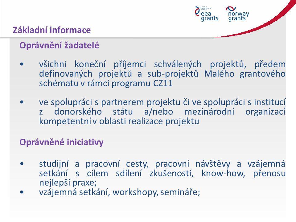 Oprávnění žadatelé všichni koneční příjemci schválených projektů, předem definovaných projektů a sub-projektů Malého grantového schématu v rámci programu CZ11 ve spolupráci s partnerem projektu či ve spolupráci s institucí z donorského státu a/nebo mezinárodní organizací kompetentní v oblasti realizace projektu Oprávněné iniciativy studijní a pracovní cesty, pracovní návštěvy a vzájemná setkání s cílem sdílení zkušeností, know-how, přenosu nejlepší praxe; vzájemná setkání, workshopy, semináře; Základní informace
