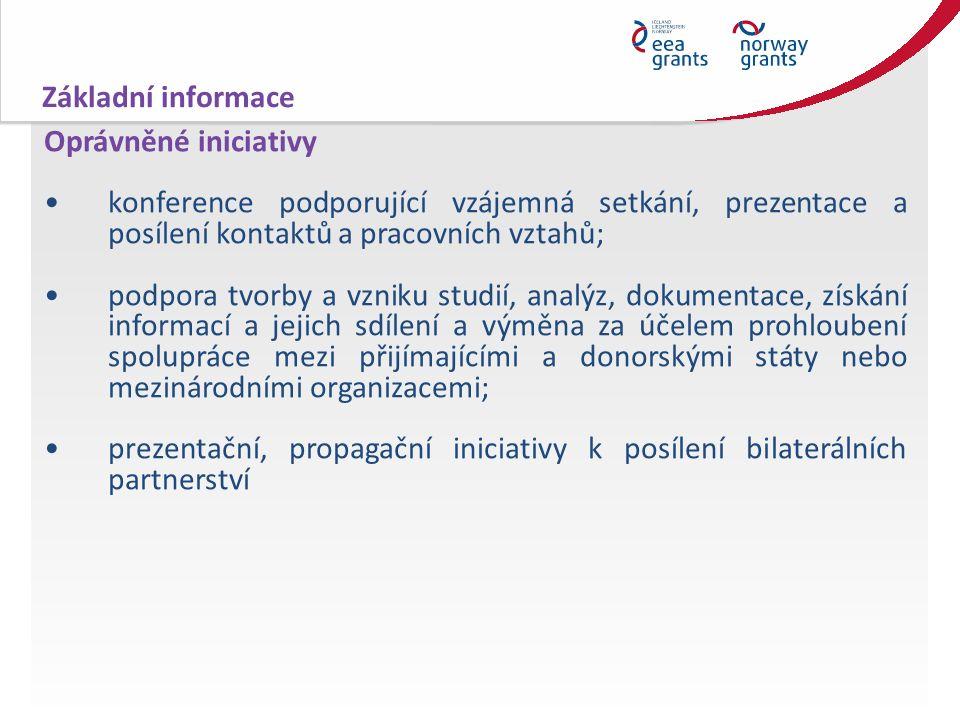 Oprávněné iniciativy konference podporující vzájemná setkání, prezentace a posílení kontaktů a pracovních vztahů; podpora tvorby a vzniku studií, analýz, dokumentace, získání informací a jejich sdílení a výměna za účelem prohloubení spolupráce mezi přijímajícími a donorskými státy nebo mezinárodními organizacemi; prezentační, propagační iniciativy k posílení bilaterálních partnerství Základní informace
