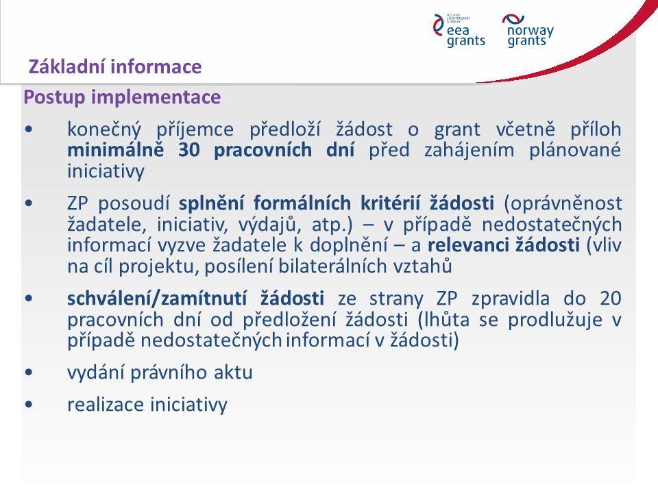 Postup implementace konečný příjemce předloží žádost o grant včetně příloh minimálně 30 pracovních dní před zahájením plánované iniciativy ZP posoudí splnění formálních kritérií žádosti (oprávněnost žadatele, iniciativ, výdajů, atp.) – v případě nedostatečných informací vyzve žadatele k doplnění – a relevanci žádosti (vliv na cíl projektu, posílení bilaterálních vztahů schválení/zamítnutí žádosti ze strany ZP zpravidla do 20 pracovních dní od předložení žádosti (lhůta se prodlužuje v případě nedostatečných informací v žádosti) vydání právního aktu realizace iniciativy Základní informace
