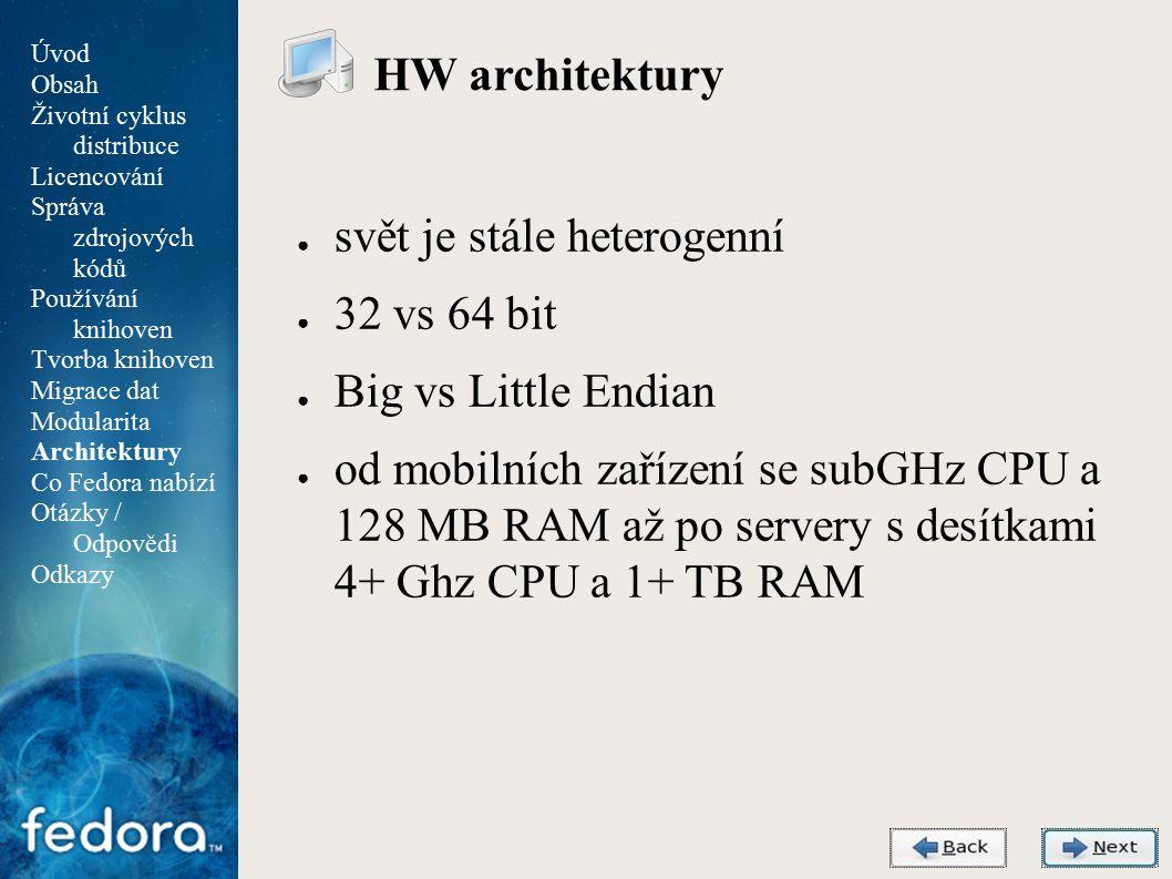Agenda HW architektury ● svět je stále heterogenní ● 32 vs 64 bit ● Big vs Little Endian ● od mobilních zařízení se subGHz CPU a 128 MB RAM až po servery s desítkami 4+ Ghz CPU a 1+ TB RAM Úvod Obsah Životní cyklus distribuce Licencování Správa zdrojových kódů Používání knihoven Tvorba knihoven Migrace dat Modularita Architektury Co Fedora nabízí Otázky / Odpovědi Odkazy