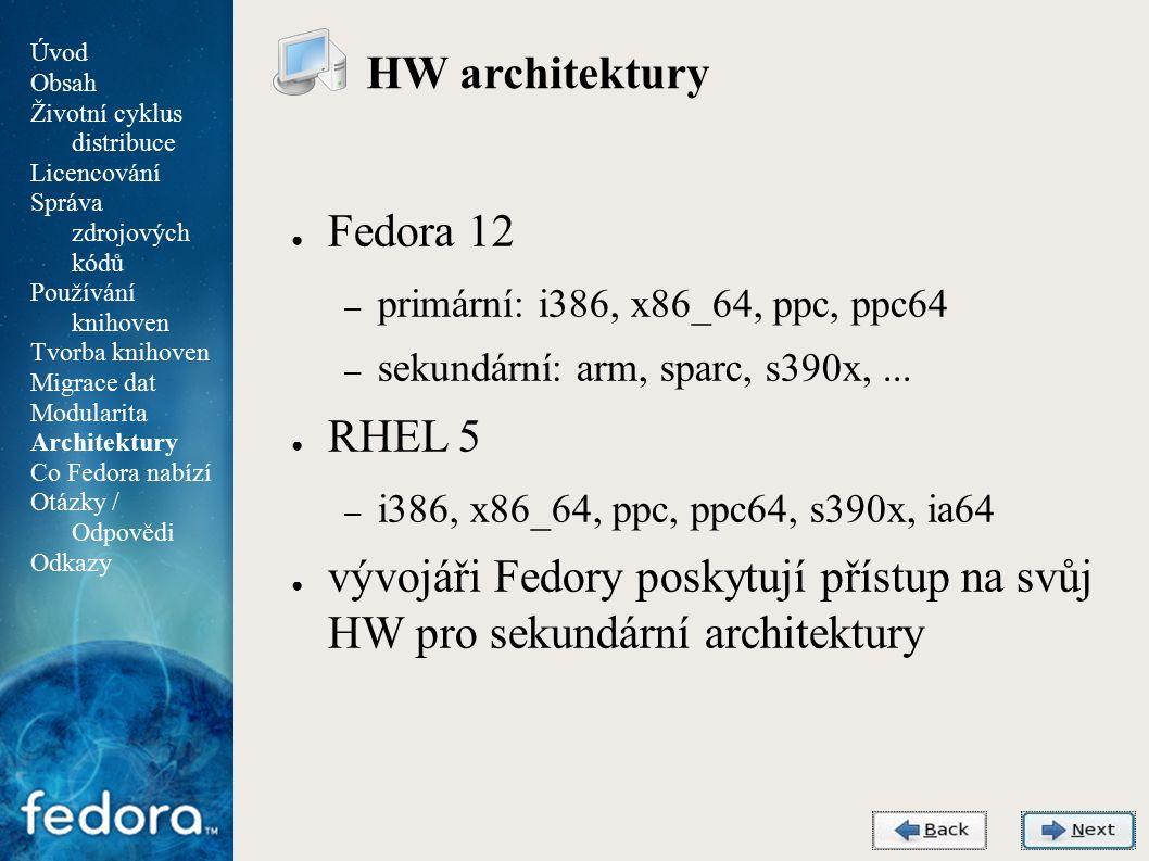 Agenda HW architektury ● Fedora 12 – primární: i386, x86_64, ppc, ppc64 – sekundární: arm, sparc, s390x,...