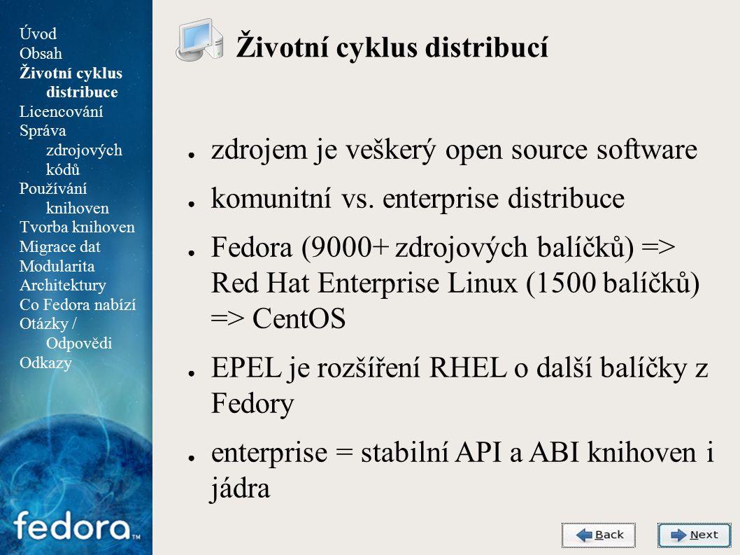 Agenda Životní cyklus distribucí ● zdrojem je veškerý open source software ● komunitní vs.