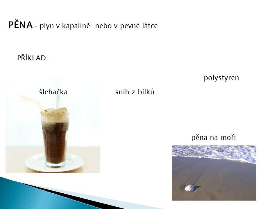 PĚNA – plyn v kapalině nebo v pevné látce PŘÍKLAD: šlehačka polystyren sníh z bílků pěna na moři