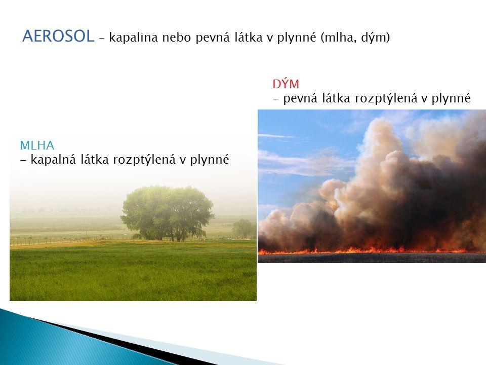 AEROSOL – kapalina nebo pevná látka v plynné (mlha, dým) MLHA - kapalná látka rozptýlená v plynné DÝM - pevná látka rozptýlená v plynné