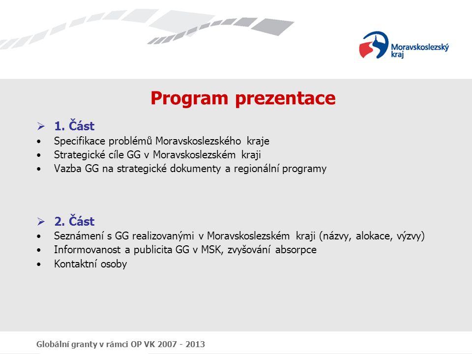 Globální granty v rámci OP VK 2007 - 2013 Program prezentace  1. Část Specifikace problémů Moravskoslezského kraje Strategické cíle GG v Moravskoslez