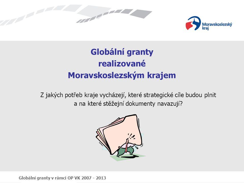 Globální granty v rámci OP VK 2007 - 2013 Globální granty realizované Moravskoslezským krajem Z jakých potřeb kraje vycházejí, které strategické cíle budou plnit a na které stěžejní dokumenty navazují