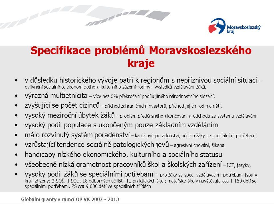 Globální granty v rámci OP VK 2007 - 2013 Specifikace problémů Moravskoslezského kraje v důsledku historického vývoje patří k regionům s nepříznivou sociální situací – ovlivnění sociálního, ekonomického a kulturního zázemí rodiny - výsledků vzdělávání žáků, výrazná multietnicita – více než 5% překročení podílu jiného národnostního složení, zvyšující se počet cizinců – příchod zahraničních investorů, příchod jejich rodin a dětí, vysoký meziroční úbytek žáků - problém předčasného ukončování a odchodu ze systému vzdělávání vysoký podíl populace s ukončeným pouze základním vzděláním málo rozvinutý systém poradenství – kariérové poradenství, péče o žáky se speciálními potřebami vzrůstající tendence sociálně patologických jevů – agresivní chování, šikana handicapy nízkého ekonomického, kulturního a sociálního statusu všeobecně nízká gramotnost pracovníků škol a školských zařízení – ICT, jazyky, vysoký podíl žáků se speciálními potřebami – pro žáky se spec.