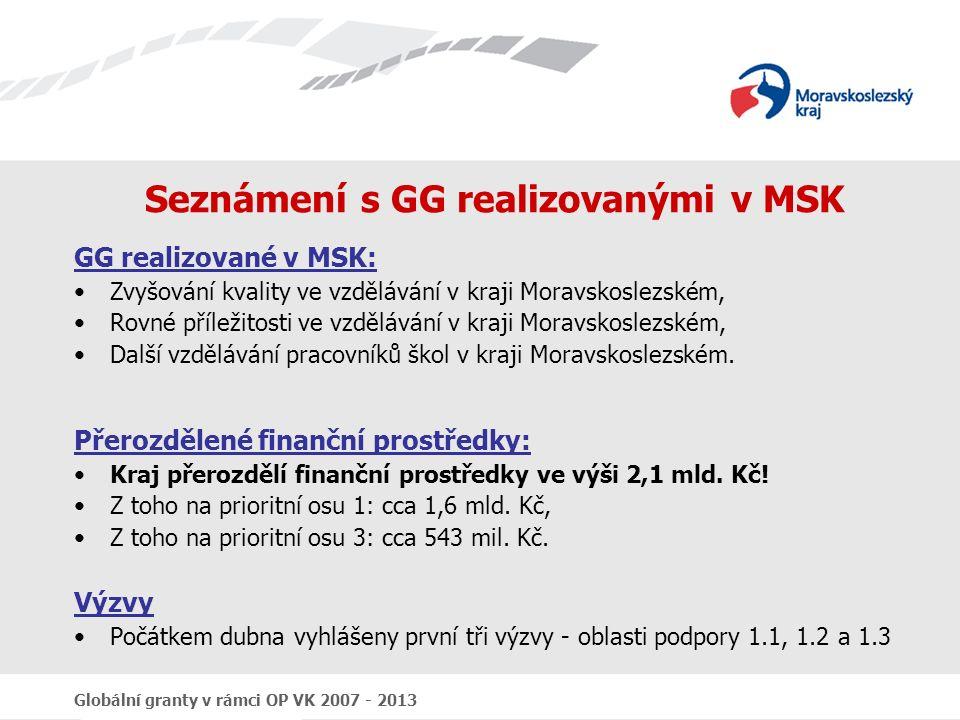 Globální granty v rámci OP VK 2007 - 2013 Seznámení s GG realizovanými v MSK GG realizované v MSK: Zvyšování kvality ve vzdělávání v kraji Moravskoslezském, Rovné příležitosti ve vzdělávání v kraji Moravskoslezském, Další vzdělávání pracovníků škol v kraji Moravskoslezském.