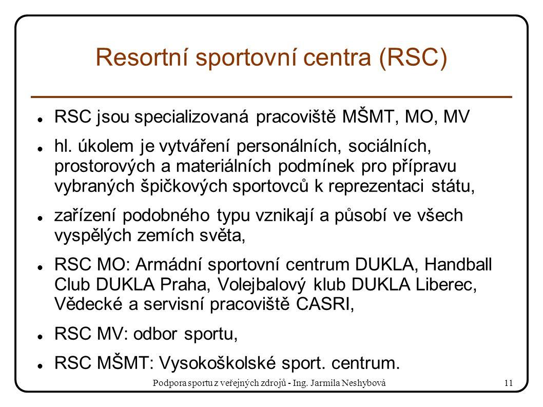 Podpora sportu z veřejných zdrojů - Ing. Jarmila Neshybová11 Resortní sportovní centra (RSC) RSC jsou specializovaná pracoviště MŠMT, MO, MV hl. úkole