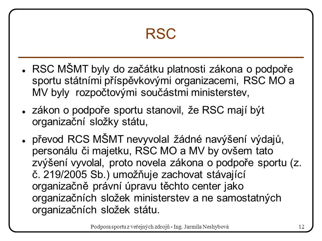 Podpora sportu z veřejných zdrojů - Ing. Jarmila Neshybová12 RSC RSC MŠMT byly do začátku platnosti zákona o podpoře sportu státními příspěvkovými org