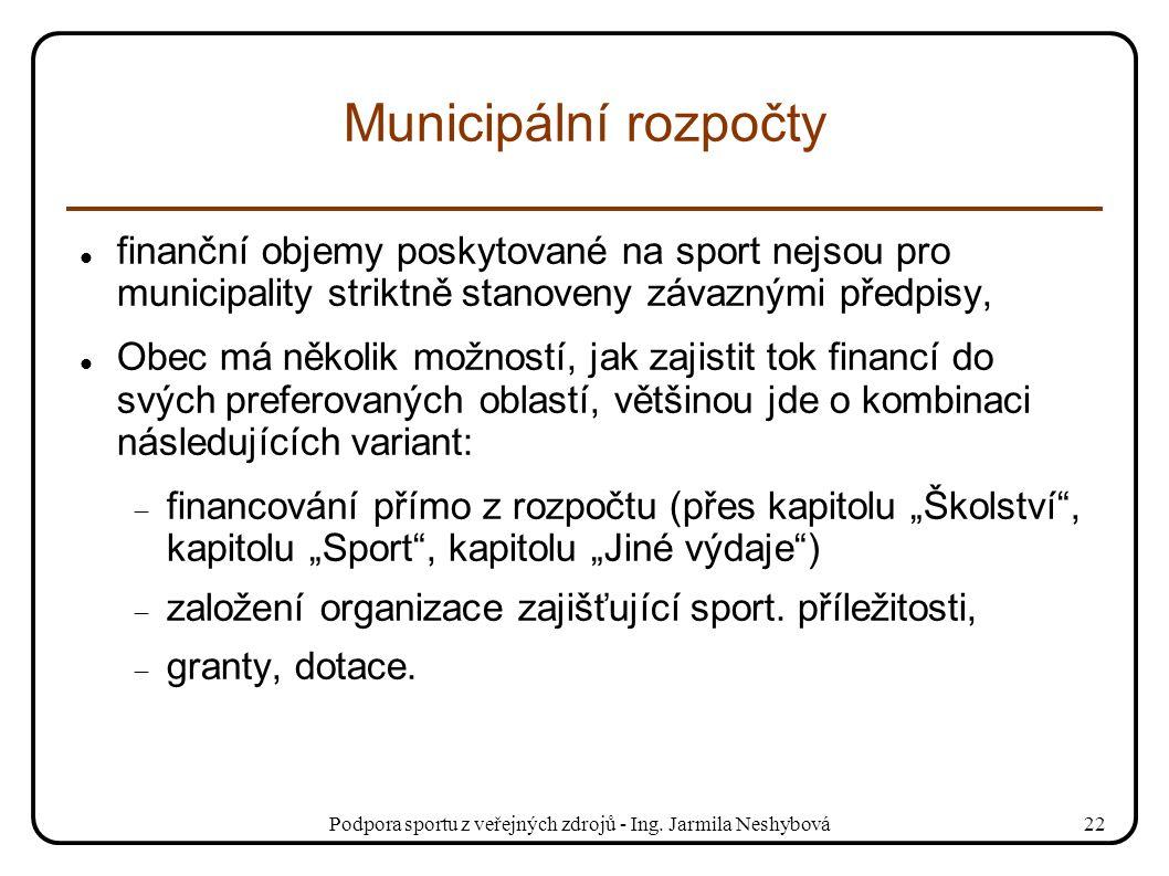 Podpora sportu z veřejných zdrojů - Ing. Jarmila Neshybová22 Municipální rozpočty finanční objemy poskytované na sport nejsou pro municipality striktn