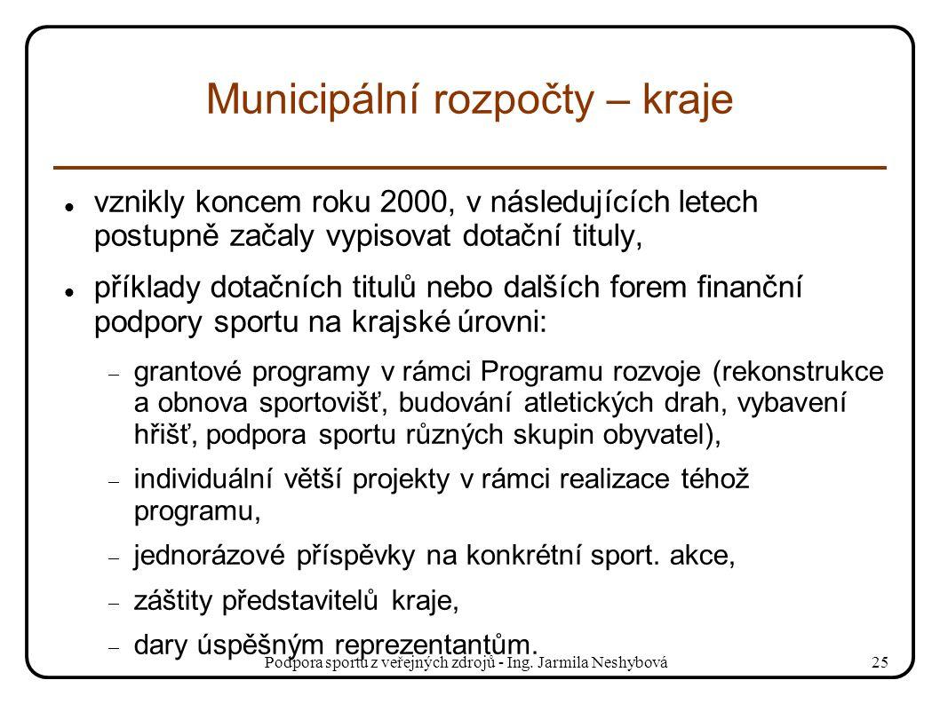 Podpora sportu z veřejných zdrojů - Ing. Jarmila Neshybová25 Municipální rozpočty – kraje vznikly koncem roku 2000, v následujících letech postupně za