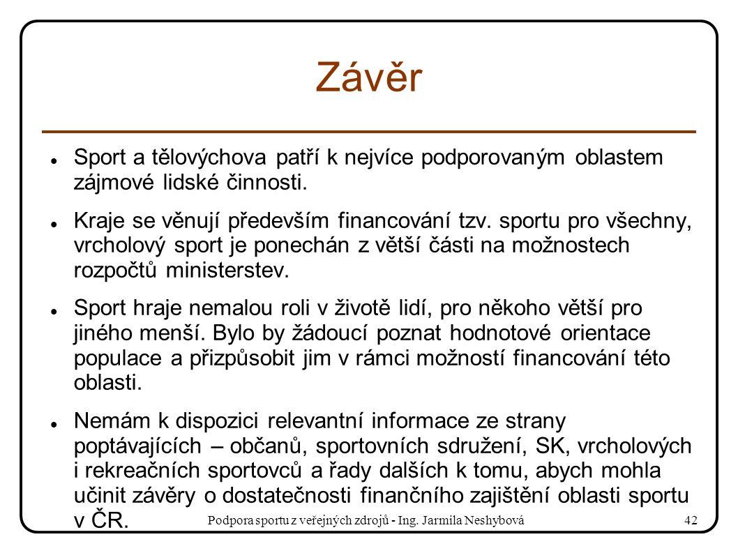 Podpora sportu z veřejných zdrojů - Ing. Jarmila Neshybová42 Závěr Sport a tělovýchova patří k nejvíce podporovaným oblastem zájmové lidské činnosti.
