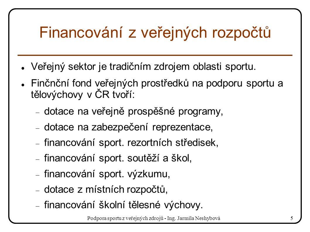 Podpora sportu z veřejných zdrojů - Ing. Jarmila Neshybová5 Financování z veřejných rozpočtů Veřejný sektor je tradičním zdrojem oblasti sportu. Finčn