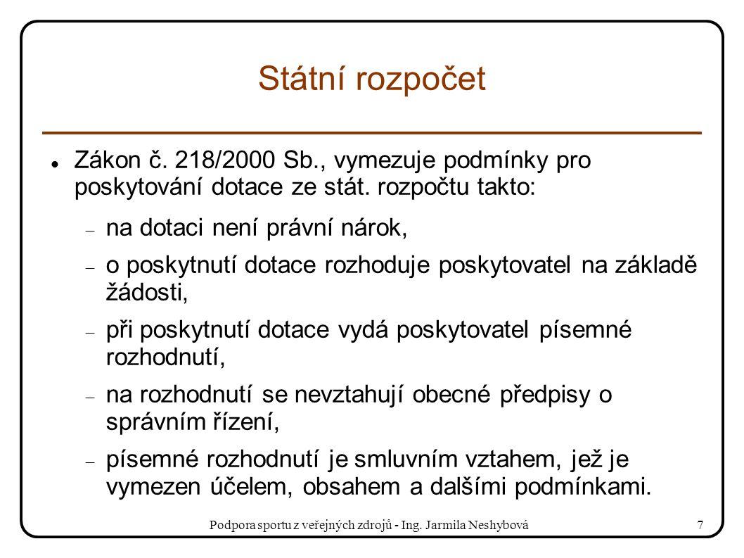 Podpora sportu z veřejných zdrojů - Ing. Jarmila Neshybová7 Státní rozpočet Zákon č. 218/2000 Sb., vymezuje podmínky pro poskytování dotace ze stát. r