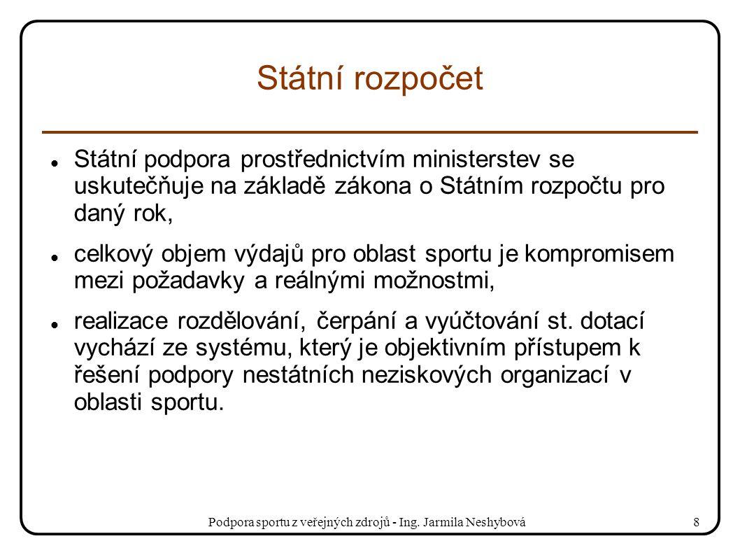 Podpora sportu z veřejných zdrojů - Ing. Jarmila Neshybová8 Státní rozpočet Státní podpora prostřednictvím ministerstev se uskutečňuje na základě záko