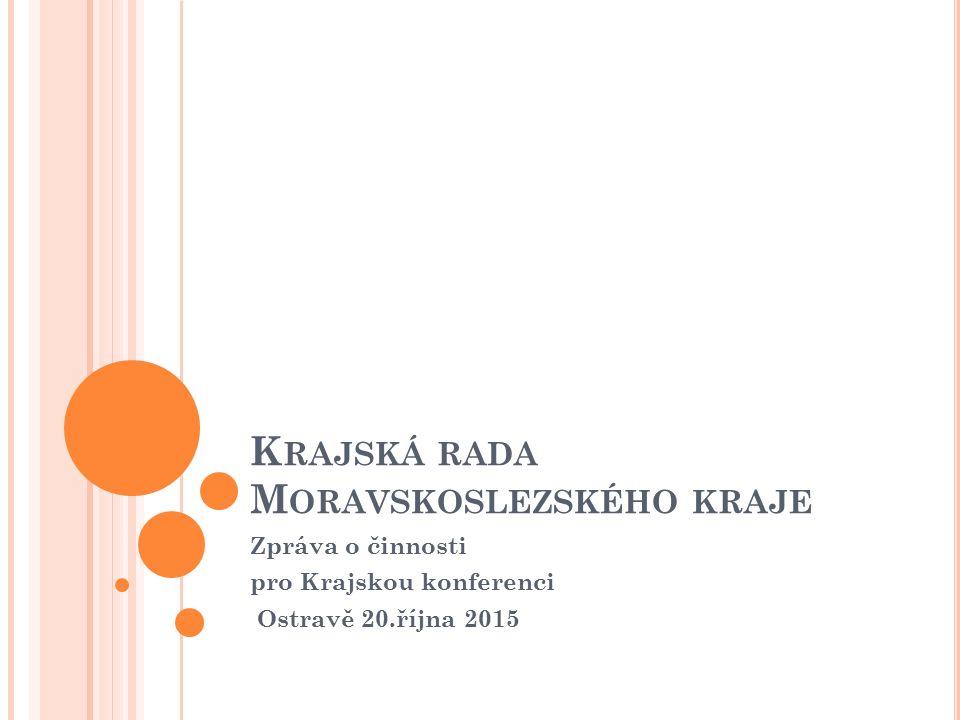 K RAJSKÁ RADA M ORAVSKOSLEZSKÉHO KRAJE Zpráva o činnosti pro Krajskou konferenci Ostravě 20.října 2015