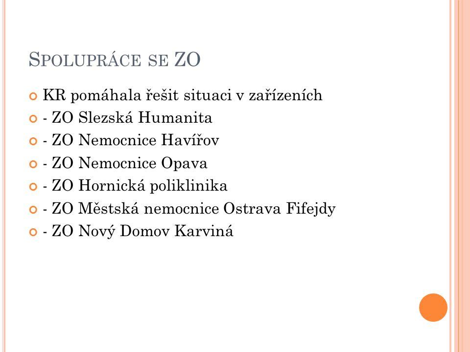 S POLUPRÁCE SE ZO KR pomáhala řešit situaci v zařízeních - ZO Slezská Humanita - ZO Nemocnice Havířov - ZO Nemocnice Opava - ZO Hornická poliklinika -