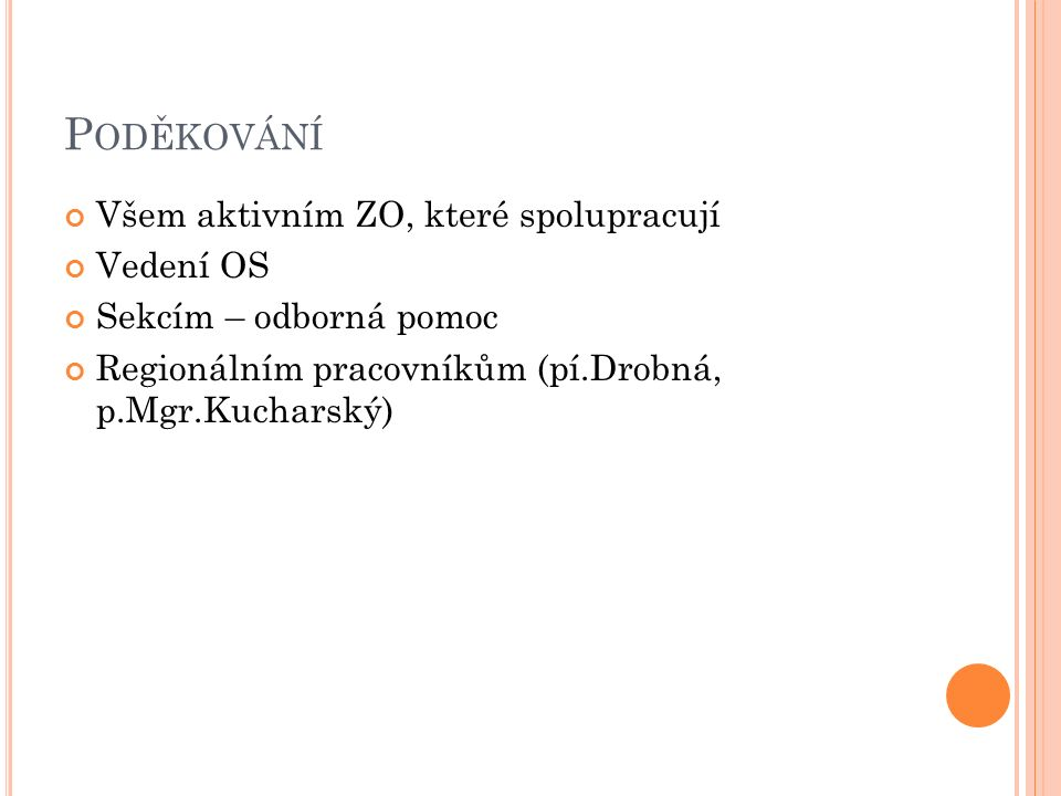 P ODĚKOVÁNÍ Všem aktivním ZO, které spolupracují Vedení OS Sekcím – odborná pomoc Regionálním pracovníkům (pí.Drobná, p.Mgr.Kucharský)