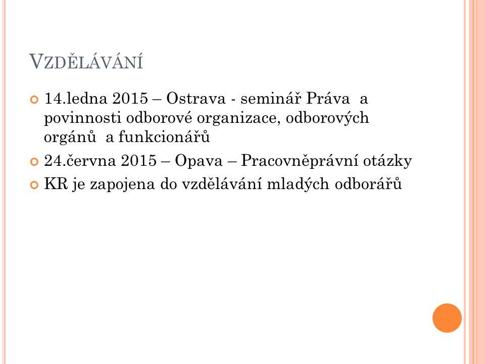 V ZDĚLÁVÁNÍ 14.ledna 2015 – Ostrava - seminář Práva a povinnosti odborové organizace, odborových orgánů a funkcionářů 24.června 2015 – Opava – Pracovněprávní otázky KR je zapojena do vzdělávání mladých odborářů