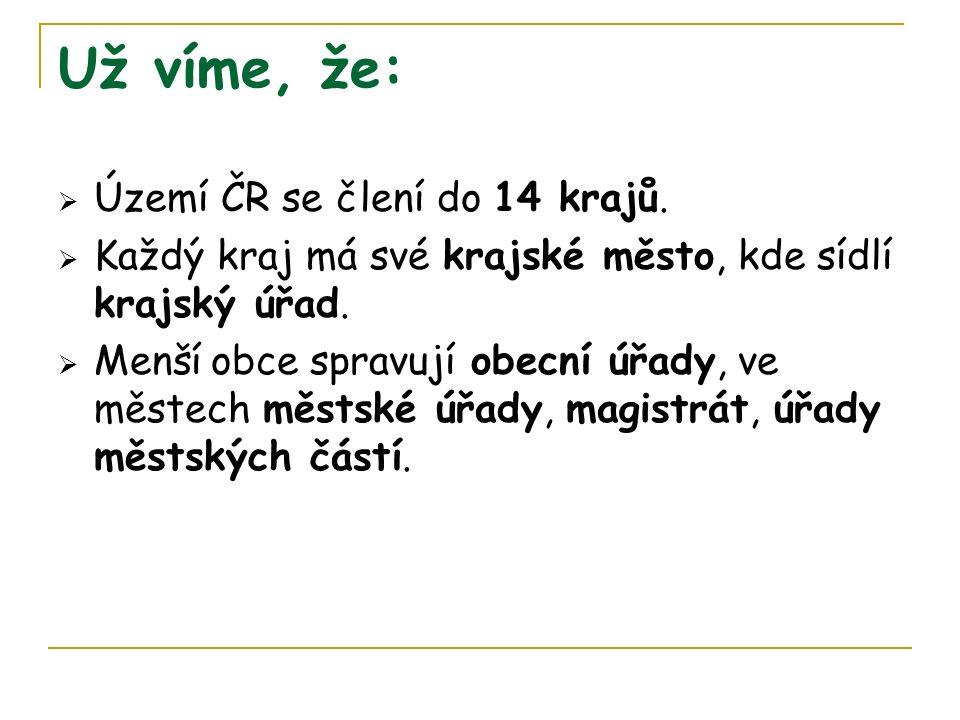 Už víme, že:  Území ČR se člení do 14 krajů.