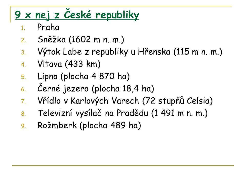 9 x nej z České republiky 1. Praha 2. Sněžka (1602 m n.