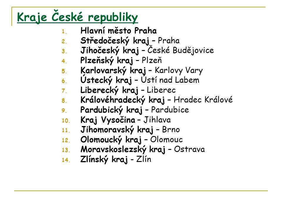 Kraje České republiky 1. Hlavní město Praha 2. Středočeský kraj – Praha 3.