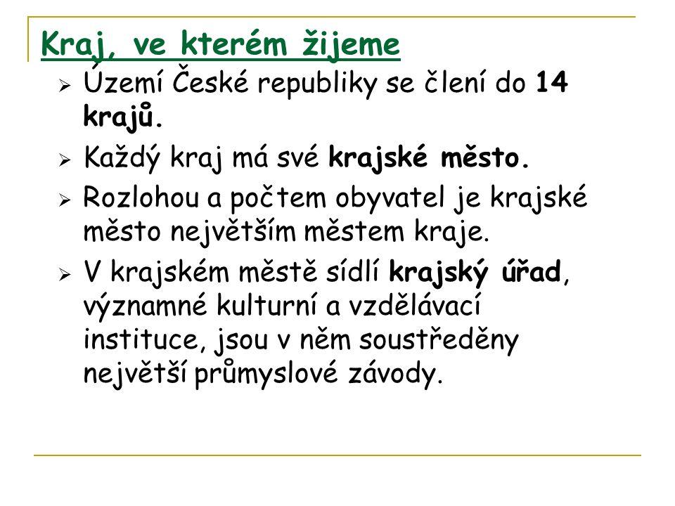 Kraj, ve kterém žijeme  Území České republiky se člení do 14 krajů.