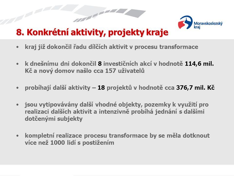kraj již dokončil řadu dílčích aktivit v procesu transformace k dnešnímu dni dokončil 8 investičních akcí v hodnotě 114,6 mil.