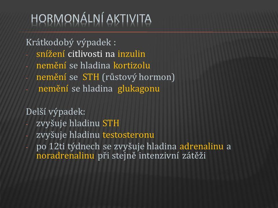Krátkodobý výpadek : - snížení citlivosti na inzulin - nemění se hladina kortizolu - nemění se STH (růstový hormon) - nemění se hladina glukagonu Delší výpadek: - zvyšuje hladinu STH - zvyšuje hladinu testosteronu - po 12ti týdnech se zvyšuje hladina adrenalinu a noradrenalinu při stejně intenzivní zátěži